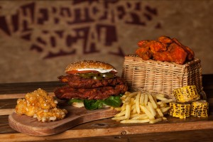 A variation on the classic southern fried chicken breat in a bun