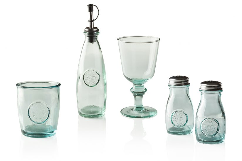 Modern recycled glass product photography